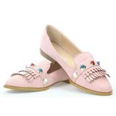 Туфли розового цвета на низком каблуке, экозамша
