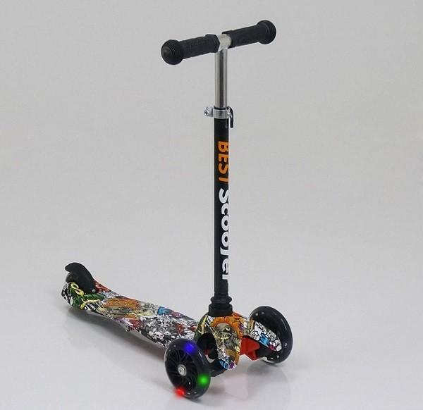 Детский трехколесный самокат scooter mini print 1286 колеса светятся. нагрузка до 50 кг фото №1