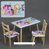 """Столик и два стульчика деревянные """"Литл пони """" С 080"""