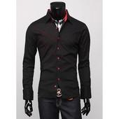 Стильна модная черная рубашка с красной отделкой новая, р.48