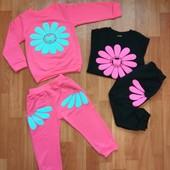 Костюм для девочки 86см пуловер + штанишки двунитка реглан кофта штаны без начеса