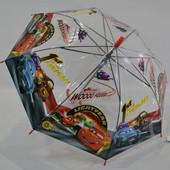 Яркий полупрозрачный  зонт зонтик трость для мальчика Тачки поливинил. 3-8 лет