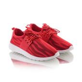 Женские текстильные красные кроссовки