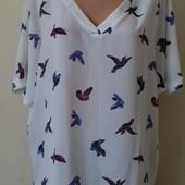 Блуза свободного кроя с принтом птички