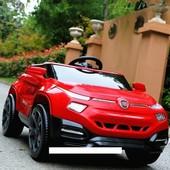 Детский электромобиль M 3292 eblr-3 на резиновых eva колёсах, с кожаным сиденьем, красный