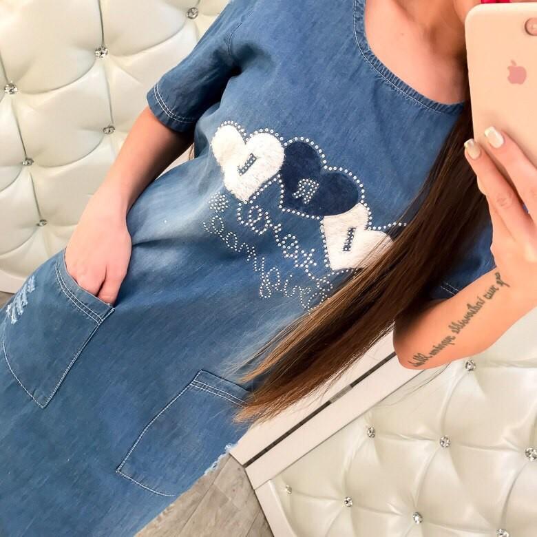 Турецкие джинсовые платья со стразами