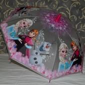 Зонтик зонт детский с яркими героями полупрозрачны яркий и весёлый Холодное сердце Frozen Эльза Анна