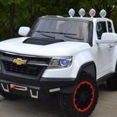Детский электромобиль Chevrolet 1602 eva колеса (полноприводная, кож. сидение)