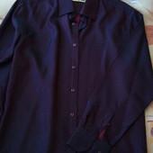 Праздничная мужская рубашка в отличном состоянии, цвет бордо, размер М