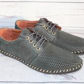 Летние мужские туфли, кожаные, перфорация, 4 цвета
