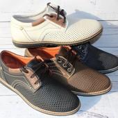 Летние туфли, перфорированная кожа, разные цвета