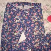 Яркие джинсы в цветочный принт жжатка варенка Handmade 100% хлопок 30р М Л