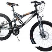 Горный спортивный велосипед 24 дюймов Azimut Scorpion g-fr/d-1(оборудование shimano)серый