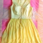 Красивенное яркое желтое платье С-М, шифоновая юбка, как новое!