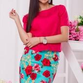 Размеры 42-54 Яркий женский летний костюм юбка+блуза