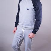 Мужской спортивный костюм Nike серый с синим лучшая цена штаны на манжетах