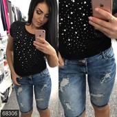 Размеры 42-48 Стильные женские джинсовые шорты