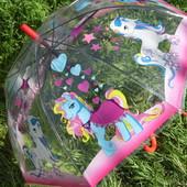 Новинка Яркий купольный прозрачный зонт зонтик трость для девочки с пони. 2-6 лет