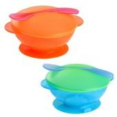 Набор детской посуды на присоске, тарелка+крышка+ложка