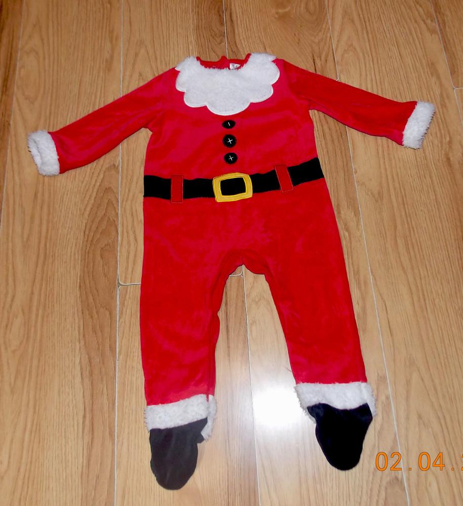 Новогодний фирменный человечек санта клаус для мальчика 9-12 месяцев, 80 см фото №1