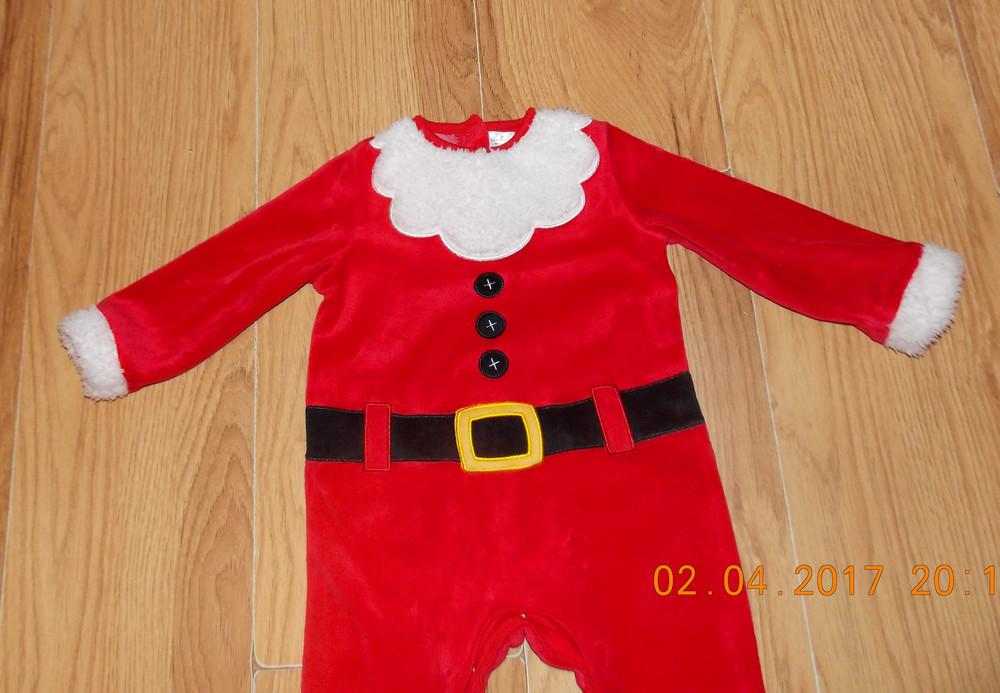 Новогодний фирменный человечек санта клаус для мальчика 9-12 месяцев, 80 см фото №2