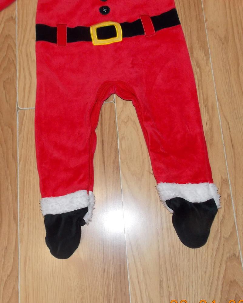 Новогодний фирменный человечек санта клаус для мальчика 9-12 месяцев, 80 см фото №3