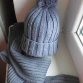 Зимняя шапка для с шарфом мальчика 3-5 лет.