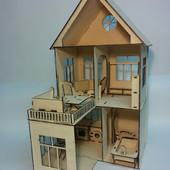 Двухэтажный  домик для кукол с мебелью для Pony, Winx (mini), Steffi, Evi (15 см)