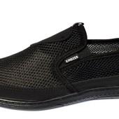 Комфортные мужские мокасины-туфли сеточка (Т9)