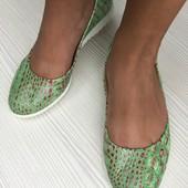 Ультраяркие Балетки кожа салатовый крокодил 35,36,37,40
