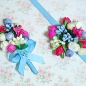 Свадебные бутоньерки для свидетелей под цвет свадьбы