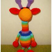 Игрушка ручной работы: Радужный жираф, рост 27 см (новая)