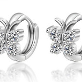 Серьги с кристаллами, покрытые серебром Бабочки