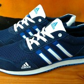 Мужские летние кроссовки Adidas сетка, натур замша, 3 цвета