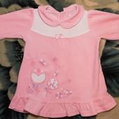 Велюровое платье Бемби, р. 74, розовое, в идеальном состоянии
