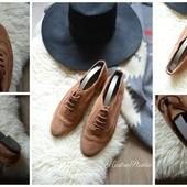 Замшевые натуральные туфли-броги,р-р 38