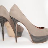 Серые туфли на шпильке, стелька нат.кожа, Plato р.41
