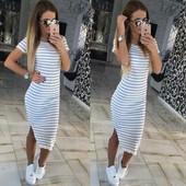 Платье в полоску 3 цвета р-ры 42-48