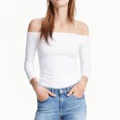 Топ спущенные плечи рукав 3/4 белый H&M рL 48-50 оригинал