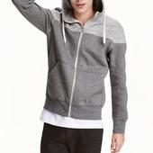 Мужское худи H&M. Размер xl. Цвет - светло-серый меланж+темно-синий
