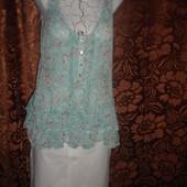 Фирменная легкая блузочка свободного кроя бирюза  на 48 размер