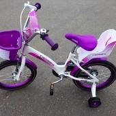 """Двухколесный велосипед для девочек с корзинкой и сидением для куклы Kids bike 18"""""""