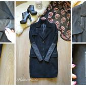 Шерстяное пальто Guess с кожаными рукавами,р-р Л