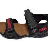 Сандалии мужские кожаные Ecco E2 New черные (реплика)