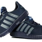 45 и 46 р Мужски летние гибкие кроссовки синего цвета с серыми вставками (Р-2705сн)