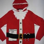 Новогодняя теплая кофта с капюшоном - Next - M