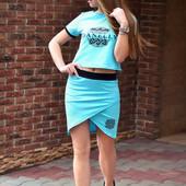 Спортивный комплект, костюм- топ и юбка, S M L, 3 цвета