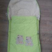 Теплый зимний конверт в коляску, в санки на меху в отличном состоянии