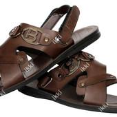 Мужские сандалии - шлепанцы коричневые эко-кожа  (РУ-6кск)