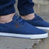 Мужские спортивные туфли кеды низкие Armani Армани темно синие